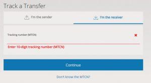 Halaman Tracking Nomor MTCN Western Union