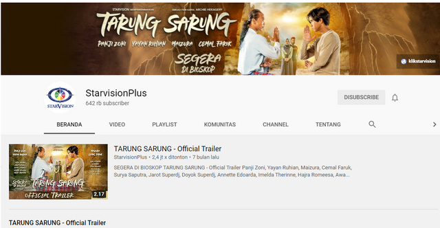 Channel YouTube StarvisionPlus
