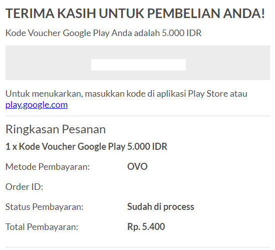 Halaman Setelah Pembelian Voucher Google Play Di Coda Shop Berhasil