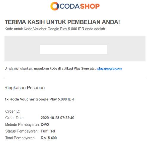 Isi Email Pembelian Voucher Google Play Di Coda Shop
