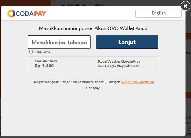 Memasukkan Nomor Akun Ponsel OVO Wallet Di Coda Shop