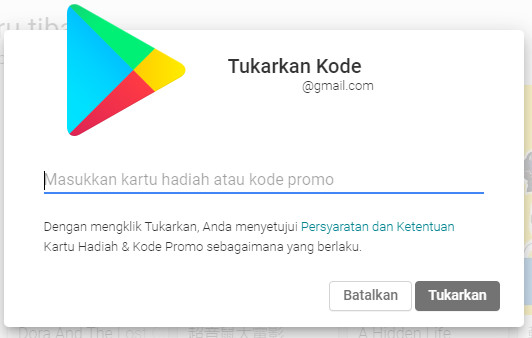 Memasukkan Penukaran Kode Voucher Google Play