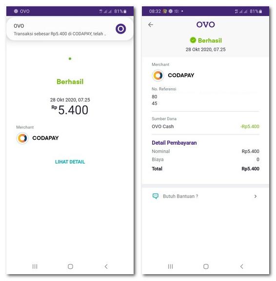 Pembayaran OVO Dari Website Code Pay Berhasil