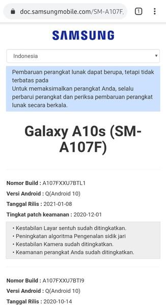 Informasi Pembaruan Di Website Samsung