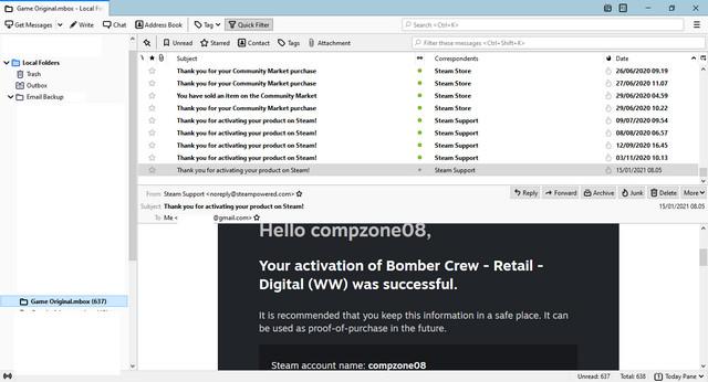 Backup Email Gmail Berhasil Di Thunderbird