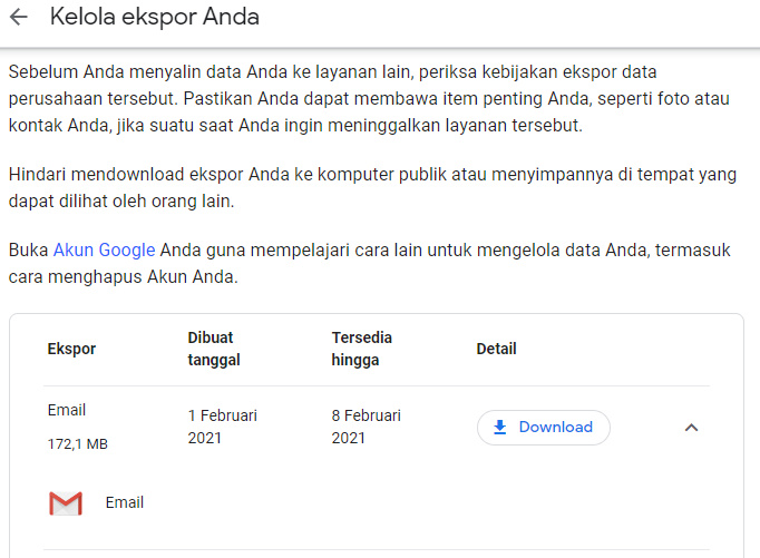 Kelola Data Ekspor Google Takeout