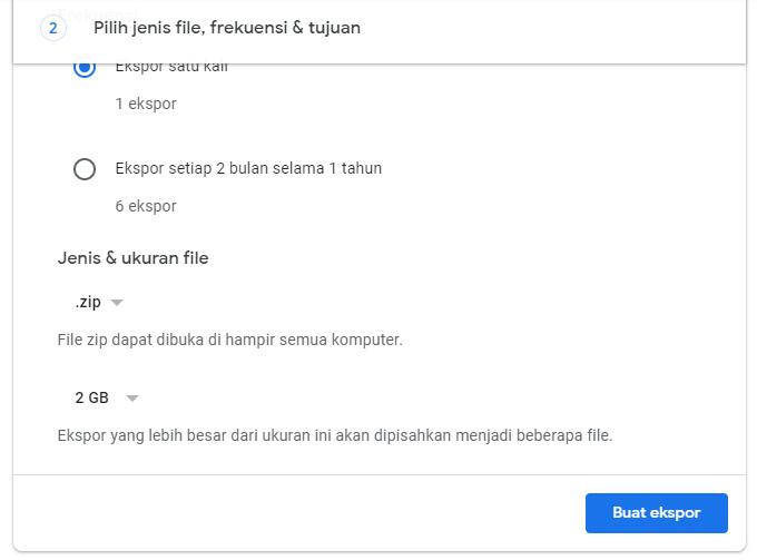Pengaturan Jenis File Di Google Takeout