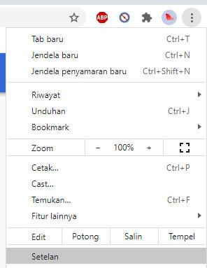 Menu Setelan Browser Google Chrome