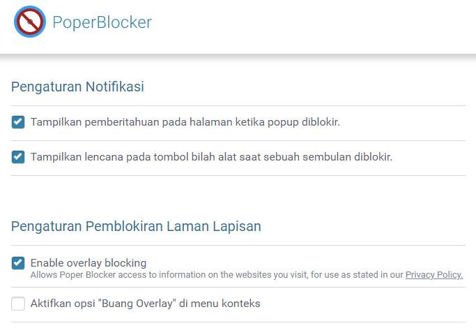Pengaturan Pop Up Blocker