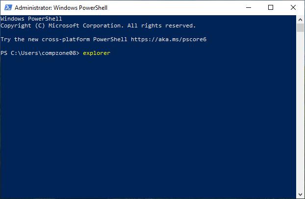 Jalankan File Explorer Dari PowerShell
