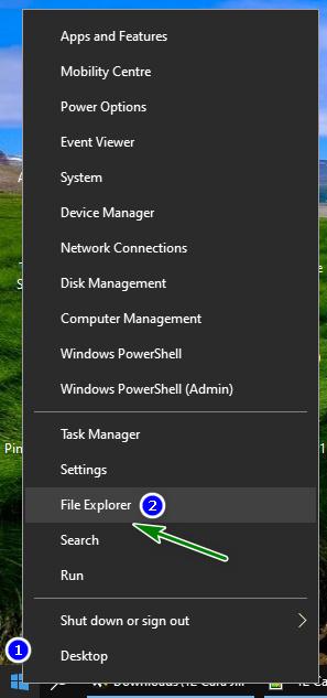 Membuka File Explorer Menggunakan Shortcut Menu WinX