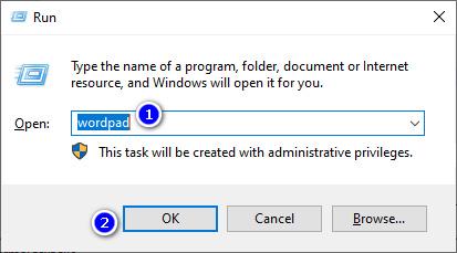 Membuka WordPad Dari Run