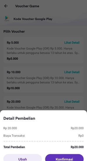Detail Pembelian Kode Voucher Google Play
