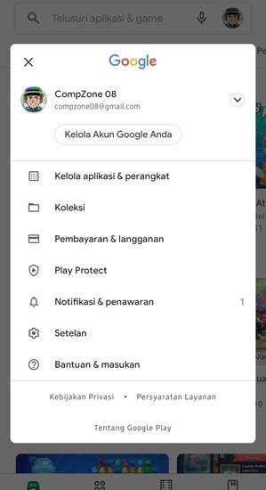 Menu Akun Google Play