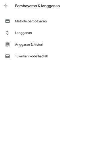 Menu Pembayaran Google Play