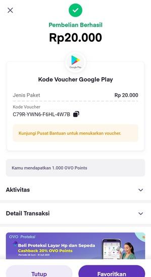 Pembelian Kode Voucher Google Play Berhasil