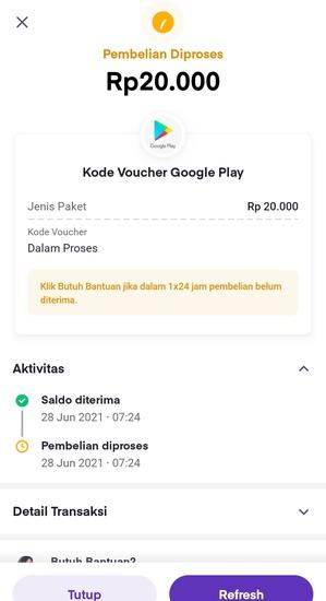 Pembelian Kode Voucher Google Play Di Proses